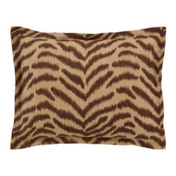 "Jane Wilner Designs - Jane Wilner Designs Standard Tiger Sham - Eclectic patterns in spice tones create appealing synergy in ""Portobello."" Made in the USA of imported and domestic materials by Jane Wilner Designs. Dry clean. Floral linens are flax/rayon. Tiger-stripe linens are cotton/rayon. Square tiger-stripe pi..."