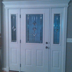 Entry door with White Door Interior & Crown Molding - ProVia Entry Door with decorative glass and white crown molding trim installed by Opal Enterprises, Inc in Naperville, IL.