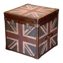 Kathy Kuo Home - Union Jack Modern Industrial Leather Trunk Side End Table - The British are coming, but keep calm and carry on — it's just a vintage-inspired Union Jack trunk. This sleek leather and wood end table will add effortless cool to your decor.