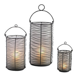 """Studio A - Studio A Loop Transitional Lantern - Large X-17108.7 - Crinkled iron wire is wrapped horizontally around a metal armature which protects the frosted glass cylinder inside. A solid, footed base and sturdy collapsible handle makes it useful on table tops or hung from the handle loop. Handle, (5"""" H)."""