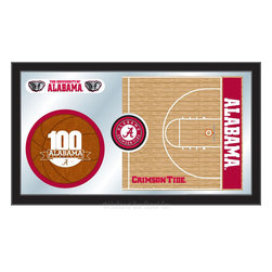 "Holland Bar Stool - Holland Bar Stool Alabama Basketball Mirror - Alabama Basketball Mirror belongs to College Collection by Holland Bar Stool The perfect way to show your school pride, our basketball Mirror displays your school's symbols with a style that fits any setting.  With it's simple but elegant design, colors burst through the 1/8"" thick glass and are highlighted by the mirrored accents.  Framed with a black, 1 1/4 wrapped wood frame with saw tooth hangers, this 15""(H) x 26""(W) mirror is ideal for your office, garage, or any room of the house.  Whether purchasing as a gift for a recent grad, sports superfan, or for yourself, you can take satisfaction knowing you're buying a mirror that is proudly Made in the USA by Holland Bar Stool Company, Holland, MI.   Mirror (1)"