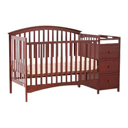 Stork Craft - Stork Craft Bradford 4 in 1 Fixed Side Convertible Cherry Crib Changer - Stork Craft - Cribs - 04586354 - The Storkcraft Bradford Stages 4-in-1 Fixed Side Crib with Changer shows polished refined lines that add to the sophistication of this crib making it the perfect piece for your nursery! Designed for multiple stages of life; it converts from a full size stages crib to a toddler bed to a daybed to a full-size bed. Full size bed rails not included.The attached changer is designed with safety in mind with an extra deep surface for added security and stability while changing your baby. Set-up this beautiful Bradford Stages Crib with changer effortlessly with its easy to follow directions. It is constructed of stunning solid wood and wood products offered in a selection of non toxic durable finishes. All four sides are stationary and include an adjustable one piece mattress support base to add to the security and stability of this charming crib.Complete your nursery look by adding an assortment of complimentary accessories: a chest dresser or glider and ottoman by Stork Craft. Stork Craft has been keeping babys safe for over 60 years. They are fully JPMA certified; a unique certification program and certification seal that help to guide parents towards the best products for their children.