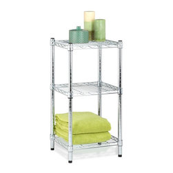 Honey Can Do - 3-Tier Chrome Wire Shelving Tower - Wire shelving table. Steel, Chrome Plated. NSF Certified. Assembly required. 14 in. D x 15 in. W x 30 in. H