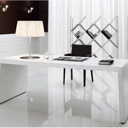 Cattelan Italia - Cattelan Italia | Master Desk, 79-Inch - Made in Italy by Cattelan Italia. As the name suggests, the Master 79 inch Desk exudes a sense of power from its modest masculine beauty and irrefutably remarkable Italian workmanship. Practicality and simplicity in design are brought into focus by this masterpiece's minimalist silhouette. Demanding admiration, the premium leather completely encases the table's long svelte frame. The area under the table makes ample space for open storage while providing room for the legs. Adding panache to the look is an optional 6mm glass top, which comes in a variety of styles. Will go well with both traditional and modern décors. Perfect for office or home office use. Leather color and print options offered. Also available in a smaller size.
