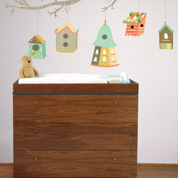 the lovely wall co - Floating Bird Houses - Wall Decal - bird house wall sticker - FLOATING BIRD HOUSE Wall Decal