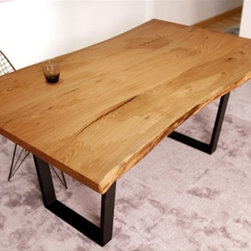 Oak Dining Table - Gorgeous live-edge wood paired with a modern base makes an amazing and unique dining table.