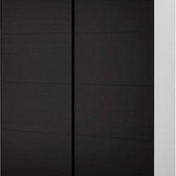 IKEA of Sweden - PAX Wardrobe with sliding doors - Wardrobe with sliding doors, white, Malm black-brown