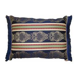Pillow Sham w/ Blue Fringe - Moroccan pillow sham with horizontal patterns, brush fringe in dark blue. Zipper closure. Sham only, insert not included.