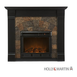 "Holly and Martin Underwood Electric Fireplace-Black - Holly & Martin Underwood Electric Fireplace-BlackProduct Features Beautifully rustic, this black fireplace exudes character and style with simulated aging, worm holes and small imperfections. The faux slate front has a stunning pattern of faux slate tiles that arch across the front creating a true masterpiece. Portability and ease of assembly are just two of the reasons why our fireplace mantels are perfect for your home. Requiring no electrician or contractor for installation allows instant remodeling without the usual mess or expense. In addition to your living room or bedroom, try moving this fireplace to your dining room for romantic dinners or complement your media room with a ventless fireplace below your flat screen television. Use this great functional fireplace to make your home a more welcoming environment. - 45.5"" W x 14.5"" D x 40"" H  - Black Finish  - Earth tone slate  - Beautiful media room accent  - Mantel supports up to 85lbs  - Accommodates up to a 42"" flat screen TV  - Constructed of China oak and MDF with PB  - Assembly required   - Firebox front - 23"" Wide x 20"" Tall  - Remote control (2 AAA Batteries Required)  - Realistic flickering flame effect  - Long life LED lights  - 120V-60Hz, 1500W / 5000 BTUs, 12.5 Amp  - Easy to use adjustable thermostat  - Safety thermal overload protector  - Adjustable flame brightness control  - Plugs into standard wall outlet with 6' cord  - Tested to heat 1500 cubic feet in only 24 minutes (14'x14'x8')  - Uses about the same energy as a coffee maker  - 100% energy efficient with low operating costs  - Produces zero emissions or pollutants  - Eco friendly, consuming no wood or fossil fuels  - No combustion, glass remains cool to the touch"