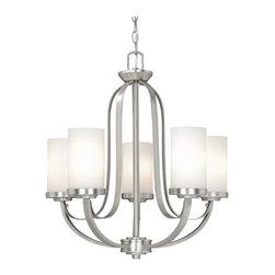 Vaxcel Lighting - Vaxcel Lighting Oxford Transitional Chandelier X-NB500UHC-XO - This super contemporary chandelier comes in a brilliant brushed nickel finish balanced against frosted opal glass shades. The Vaxcel Lighting Oxford Transitional chandelier provides a clean, refreshing look with a touch of refined charm. It is a great addition for your stylish home decor.