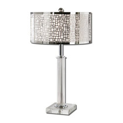 Carolyn Kinder - Carolyn Kinder Lucius Crystal Column Contemporary Table Lamp X-1-87562 - Thick crystal column and foot accented with polished chrome plated details. The round hardback shade is chrome plated laser cut metal with an off white linen liner.