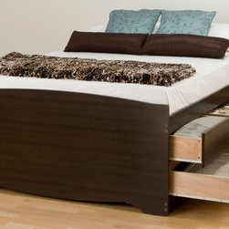 Prepac Tall Queen Platform Storage Bed in Espresso with 12 Drawers - This Tall Queen Platform Storage Bed in Espresso combines extra deep drawers for plenty of storage space with a wood slat support system intended to distribute body weight evenly and minimize the amount of motion transfer.