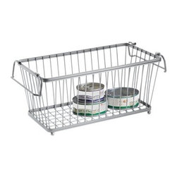 InterDesign York Lyra Basket, Silver - Group your pantry items by type — grains, drinks, baking items, canned goods, soups, snacks, etc. — in see-through baskets