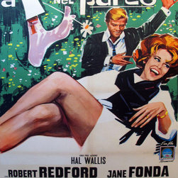 Consigned 'Barefoot in the Park' 1964 Original Italian Movie Poster - The Italians, like the French, loved (and still love) all things American, and movies were a big draw. We love the innocence and colors in this lovely oversize piece. Just back from the linen-backers, this poster is in very good condition with some signs of having been folded in one of its previous lives, as well as hints of tape that have been removed prior to linen backing. We think it would look striking in a home theatre or living room!