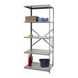 Hallowell - 87 in. High Extra Heavy-Duty Open Shelving in Gray - Adder (36 in. W x 12 in. D - Depth: 36 in. W x 12 in. D x 87 in. H. Match this adder with the 7500 series extra heavy-duty starter utility shelving from Hallowell. It features the same cross bracing style that provides sturdy support for center pieces and with beaded post attachments, expansion for do-it-yourselfers is easier than ever. Great addition to Hi-Tech  extra heavy-duty open type shelving starter unit. Open style with sway braces. 5 Adjustable shelves. Fabricated from cold rolled steel. Welds are spaced 3 in. on center to provide maximum strength. Sides are triple flanged to form a channel. All 4 corners are lapped and resistance welded to provide a rigid corner and add extra strength to the shelf. Tubular front edge is designed to protect against impact loads. 36 in. W x 12 in. D x 87 in. H. 36 in. W x 18 in. D x 87 in. H. 36 in. W x 24 in. D x 87 in. H. Assembly required. 1-Year warranty