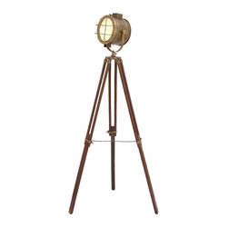None - Cinema Studio Floor Prop Light with Tripod Lamp - Give your home decor an olden day feel with this brown tripod lamp. This distinctive lamp features an adjustable stand and a bold brass finish. Constructed from solid wood and metal, this piece is sure to brighten up any room in your home.