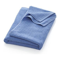 Ribbed Blue Bath Sheet - Broad borders of vertical ribbing with flat banded edges finish our spa-style blue towels in absorbent 500-gram cotton.