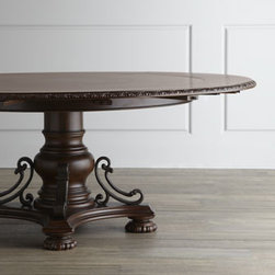 "Horchow - Agatha Pedestal Dining Table - Made of select hardwoods. Intricately designed inlays of chestnut burl with walnut, maple, and cherry borders. Carved top edges. Urn-shaped pedestal with scrolled metal supports. Comes with four 10"" concentric leaves. 58""Dia. x 30""T; extends to 7..."