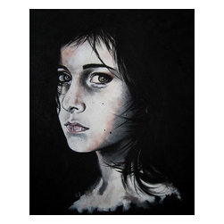 """Mia (Portrait Series #2), Original, Painting - - 16"""" x 20"""" (1.5"""" deep)  - 1st painting of portrait series #2  - professional grade acrylics on gallery wrapped, professional grade cotton canvas - wired for hanging on the back - initialed on the front, signed on the back"""