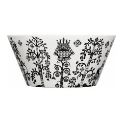 Iittala - Taika Serving Bowl, Black - You'll delight dinner guests with this fanciful bowl. Its peacock and owl pattern feels straight out of a favorite fairy tale — and its ample 3-1/2-quart capacity means all those requests for seconds can be served.