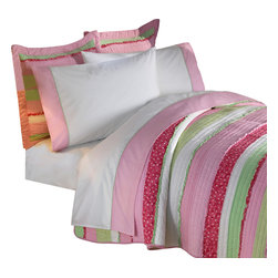 Pem America - Annas Ruffle Pink Queen Sheet Set - Hand crafted horizontal stripes floral prints in pink and green with ruffle highlights.  The simple horizontal design is highlighted by a rag finish highlighted on the surface of the quilt.  This unique looks brings and added surface texture to the quilt.