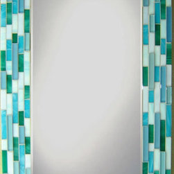Other Mosaic Mirrors - Custom glass mosaic mirror in a light blue, aqua blue, teal, and turquoise color scheme.  Materials used include stained glass and glass mosaic tile.  Custom sizes and color schemes available; pricing varies upon size.