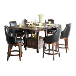Homelegance - Homelegance Bayshore 7 Piece Counter Height Table Set w/ Storage Base - Transitional aesthetic meets modern lines in the casually elegant Bayshore Collection. Offering flexibility in the collection are the options of two dining tables. The 47- inch fixed oak veneer square table top features quartered book-match walnut inlay veneers and a heavily burnished finish. Supporting the unique table top is a flared table ase comprised of four panels with a display storage shelf. The rectangular oak veneer table top, with leaf, also features quartered book-match walnut inlay veneers and a heavily burnished finish. Supporting the uniquely veneered table top is a storage table base with a display shelf. Both tables are complimented by dark brown bi-cast vinyl chairs that feature wood cap and legs. Coordinating server is also available.