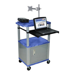 H. Wilson - Tuffy Front Shelf Presentation Cart w Nickel Legs in Blue - Includes lock with a set of two keys and three outlet 15 ft. cord. Monitor mount features 270 degree swivel, 180 degree tilt and adjustable height. Recessed chrome handle. 20 gauge steel cabinet. Recessed chrome handle. Locking steel cabinet panels fit firmly into the specially molded leg slots. Cable management access in back cabinet panel. Three shelves. 0.25 in. safety retaining lip and a raised texture surface to enhance product placement and ensure minimal sliding. 4 in. silent roll. Full swivel ball. 1.5 in. square nickel colored legs that will not chip, warp, crack, rust or peel. 4 in. heavy duty casters, two with locking brakes. High density polyethylene structural foam injection molded plastic shelves. Cord with cord management wrap and three cable management clips. Electrical attachment recessed to insure easy passage through doorways. Shelves and legs are made from recycled material. UL listed electrical assembly. Made from polyethylene and plastic. Made in USA. Minimal assembly required. Pullout shelf: 19.63 in. L x 15.63 in. W. Shelves: 24 in. L x 18 in. W x 1.5 in. H. Overall: 24 in. L x 18 in. W x 42.5 in. H. Warranty