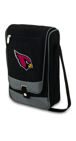 "Picnic Time - Arizona Cardinals Barossa Wine Tote in Black - The Barossa is so sleek and sophisticated, you'll want to take it with you every chance you get. It's made of 600D polyester and features an adjustable shoulder strap that makes it easy to carry and a flat zippered pocket on the exterior flap. The Barossa is fully insulated to keep your wine the perfect temperature and has a divided interior compartment to separate your bottle of wine from the 2 (8 oz.) acrylic wine glasses included. Also included are: 1 stainless steel waiter style corkscrew, 1 bottle stopper (nickel-plated), and 2 napkins (100% cotton, 14 x 14"", Black with silver pinstripe). The Barossa wine tote is perfect for picnics, concerts, or travel and makes a wonderful gift for those who enjoy wine.; Decoration: Digital Print; Includes: 1 stainless steel waiter style corkscrew, 1 bottle stopper (nickel-plated), and 2 napkins (100% cotton, 14 x 14"", Black with silver pinstripe)"