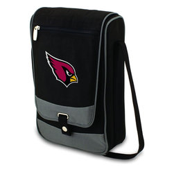 """Picnic Time - Arizona Cardinals Barossa Wine Tote in Black - The Barossa is so sleek and sophisticated, you'll want to take it with you every chance you get. It's made of 600D polyester and features an adjustable shoulder strap that makes it easy to carry and a flat zippered pocket on the exterior flap. The Barossa is fully insulated to keep your wine the perfect temperature and has a divided interior compartment to separate your bottle of wine from the 2 (8 oz.) acrylic wine glasses included. Also included are: 1 stainless steel waiter style corkscrew, 1 bottle stopper (nickel-plated), and 2 napkins (100% cotton, 14 x 14"""", Black with silver pinstripe). The Barossa wine tote is perfect for picnics, concerts, or travel and makes a wonderful gift for those who enjoy wine.; Decoration: Digital Print; Includes: 1 stainless steel waiter style corkscrew, 1 bottle stopper (nickel-plated), and 2 napkins (100% cotton, 14 x 14"""", Black with silver pinstripe)"""