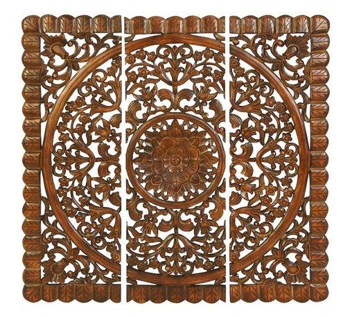 Woodland Imports - Set of 3 Carved Wood Wall Panels Brown Curves Home Decor - Attractive set of 3 carved wood wall panels in weathered brown finish with design curves home decor