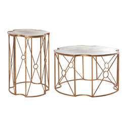 Kathy Kuo Home - Marlene Hollywood Regency Antique Gold Mirrored Coffee and Side Table - Set of 2 - Stunning and sophisticated, this antique gold mirrored coffee and side table set is twice as terrific. Designed to complement each other and any romantic room, these twin tables have delicately designed bases that hold mirrored tops. Two different heights add eclectic interest and versatility.