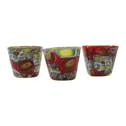 Esque - Murrini Cups - Whether you're serving water, whiskey or watermelon juice, you'll flip for these handblown art glass tumblers. A mixture of green, brown, red and white glass in different shapes is pressed into duty in a short tumbler or rocks shape. Each set of four ensures you and at least three friends will be in your cups — in style.