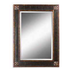 "Uttermost - Uttermost Bergamo Vanity Mirror 14156 B - Frame features a distressed chestnut brown finish with mottled black undertones, gold leaf details and a light tan glaze. Mirror has a generous 1 1/4"" bevel."