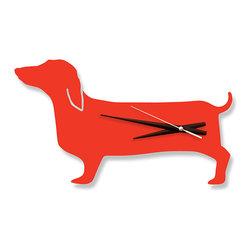 "Naked Decor - Happy Hot Dog Clock/Orange - Size: 16"" wide x 9"" tall"