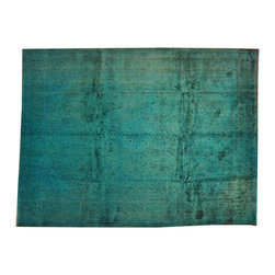 Teal Overdyed Semi Antique Persian Mashad 10'x13' Hand Knotted Rug SH16785 - Our Overdyed & Patchwork hand knotted Rug Collection is another highly demanded rug in our industry today. For our Hand Knotted  Overdyed Rugs we have a team that strips the original colors and overdyed in either more vibrant or softer & subtle hues.  The Patchwork Hand Knotted Rugs are very unique and complex.  Its composed of several different designs made up into one rug.