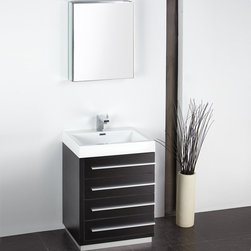"Fresca - Fresca Livello 24"" Black Modern Bathroom Vanity W /Faucet & Medicine Cabinet - At a width of 23.38"" and a height of 33.35"", the Fresca Livello bathroom vanity is perfect for smaller spaces. With a minimalistic and contemporary design, this vanity will make your bathroom feel like a modern oasis."