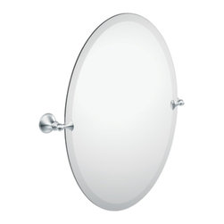 Moen - Moen DN2692CH Glenshire Oval Tilting Bath Mirror with Decorative Hardware - Moen DN2692CH Glenshire Oval Tilting Bath Mirror with Decorative Hardware in Chrome