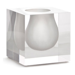 """Jonathan Adler - Jonathan Adler Bel Air Mini Scoop Vase White - Fun and funky, Jonathan Adler's mini Bel Air Scoop vase lends glamorously mod style. The vessel's petite design features a solid transparent block with a white inset. 4.25""""W x 4.25""""D x 4.25""""H; 100% lucite; Handmade design"""