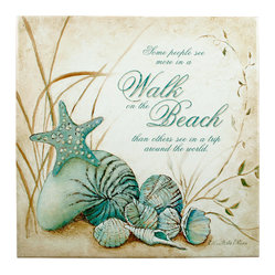 "Tile Art Gallery - Walk on the Beach - Ceramic Accent Tile, 12in - This is a beautiful sublimation printed ceramic tile entitled ""Walk on the Beach"" by artist Charlene Olson."