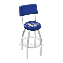 Holland Bar Stool - Holland Bar Stool L8C4 - Chrome Swivel Bar Stool - L8C4 - Chrome Gonzaga Swivel Bar Stool w/ Back belongs to College Collection by Holland Bar Stool Made for the ultimate sports fan, impress your buddies with this knockout from Holland Bar Stool. This contemporary L8C4 logo stool has a chrome single-ring base and a cushioned back to achieve maximum comfort and support. Holland Bar Stool uses a detailed screen print process that applies specially formulated epoxy-vinyl ink in numerous stages to produce a sharp, crisp, clear image of your team's emblem. You can't find a higher quality logo stool on the market. The plating grade steel used to build the frame is commercial quality, so it will withstand the abuse of the rowdiest of friends for years to come. The structure is triple chomed to ensure a rich, sleek, long lasting finish. Construction of this framework is built tough, utilizing solid mig welds. If you're going to finish your bar or game room, do it right- with a Holland Bar Stool. Barstool (1)