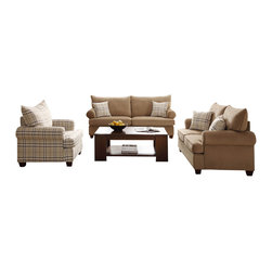 Homelegance - Homelegance Talullah 3 Piece Living Room Set in Brown Microfiber - Enriching the warmth of your transitional living room is the Talullah Collection. The subtle textured fabric of the light brown sofa and love seat is accented with a stylish pop of color lent by the perfectly contrasting plaid chair and toss pillows. Rolled arms and a plush two over- two cushion and back design ensure a stylish addition to your home.