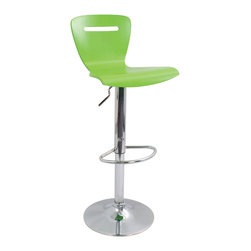 "Lumisource - H2 Bar Stool Green - Pull up a chair and stay awhile! This contemporary and stylish chair is more than a bar stool. It's colorful and utilitarian. It's fully adjustable and adds a note of artistry to your space — it simply gives ""bellying up to the bar"" a whole new meaning."