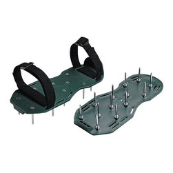 Bond - Bond Green Giant Spiked Shoes - 9215 - Shop for Garden Equipment from Hayneedle.com! Strap in you've got some aerating to do! The Bond Green Giant Spiked Shoes are made of sturdy plastic with woven Velcro straps that secure your feet in place as you drive down twelve 2-inch spikes with bolts! The holes you create will allow air fertilizer and water to soak into the soil more efficiently than ever before! Ever experienced gardener knows that these are the best shoes to wear when doing any sort of yard work because you can do a task and aerate the soil all at the same time! Each shoe measures 12L x 5.25W x 2H inches and arrives in all-new clamshell packaging. About BondBond Manufacturing began operations over 50 years ago and transformed over the years into a leader within the outdoor consumer products category. Through constant improvement of its products Bond is committed to bringing you the very best in quality service value and innovation.