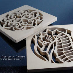 """Designer Drains Variety - The drains pictured above are from a series of patio drains surrounding a beautifully landscaped pool. The drains are made from solid bronze about .375""""(76mm) thick and 5.75"""" sq(146mm). The drains are left raw and without a finish so they may take on their own patina."""