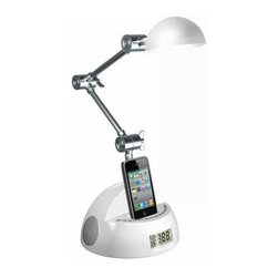 LighTunes - Black Desk Lamps: 19 in. Black Apple Docking Adjustable Robot Speaker Lamp with - Shop for Lighting & Fans at The Home Depot. This LighTunes Apple docking speaker desk lamp is uniquely designed to pack full sound into a combo speaker lamp. It comes equipped with bright 5 watt LED, two high quality speakers, Apple dock to simultaneously play music and charge your iPod or iPhone (not the iPhone 5 or iPods utilizing the lightning connector), a 3.5 mm line-in jack to play music from phones, iPods, MP3 players, and other audio devices that are non-docking such as the iPhone 5, alarm clock, USB port in the back to charge your phones or other devices including the iPhone 5, and a remote control. You won't find these features or quality in any other brand. This lamp is an absolute must have gadget to complete your bedroom, office, or college dorm. Officially licensed by Apple's MFi (Made for iPod, iPhone) program.