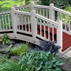 Fifthroom - Crystal Creek Spindle Rail Bridge - This sturdy bridge with treated pine beams and maintenance free composite decking has a delicate and beautiful look.  With detailed spindled rails and gentle arch, it will draw the whole neighborhood to cross it!