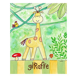 Oh How Cute Kids by Serena Bowman - Jungle Boogie - Giraffe, Ready To Hang Canvas Kid's Wall Decor, 16 X 20 - Every kid is unique and special in their own way so why shouldn't their wall decor be so as well! With our extensive selection of canvas wall art for kids, from princesses to spaceships and cowboys to travel girls, we'll help you find that perfect piece for your special one.  Or fill the entire room with our imaginative art, every canvas is part of a coordinating series, an easy way to provide a complete and unified look for any room.