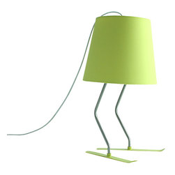 Alashadow Desk Lamp, Green - A very unique lamp that utilizes a pair of sleds as it's stands. This elegant and romantic lamp can transform any room to a cabin at your favorite ski resort. Just don't forget the hot chocolate!