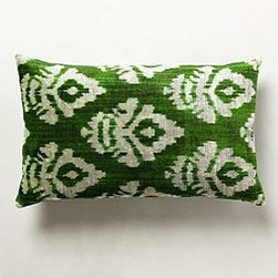 "Anthropologie - Handwoven Suta Pillow - Bottom zipSilk velvet; down feather fillDry clean15"" x 23""Imported"